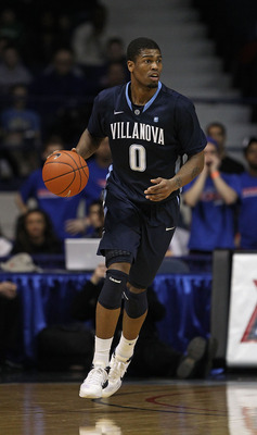 ROSEMONT, IL - FEBRUARY 19: Antonio Pena #0 of the Villanova Wildcats controls the ball against the DePaul Blue Demons at the Allstate Arena on February 19, 2011 in Rosemont, Illinois. Villanova defeated DePaul 77-75 in overtime. (Photo by Jonathan Daniel