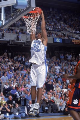 17 Jan 2001:  Julius Peppers #45 of the University of North Carolina Tar Heels jumps up to slam the ball during the game against the Clemson Tigers at the Dean E. Smith Center in Chapel Hill, North Carolina.  The Tar Heels defeated the Tigers 92-65. Manda