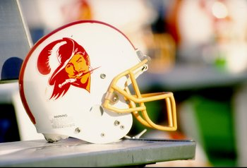 19 Dec 1993: General view of a helmet worn by the Tampa Bay Buccaneers during a game against the Los Angeles Raiders. The Raiders won the game 27-20.