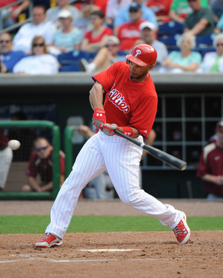 CLEARWATER, FL - FEBRUARY 24:  Outfielder Raul Ibanez #29 of the Philadelphia Phillies bats against the Florida State Seminoles February 24, 2011 at Bright House Field in Clearwater, Florida.  (Photo by Al Messerschmidt/Getty Images)
