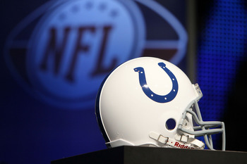 FORT LAUDERDALE, FL - FEBRUARY 05:  An Indianapolis Colts helmet is seen during the AFC Head Coach Press Conference held at the Greater Ft. Lauderdale/Broward County Convention Center as part of media week for Super Bowl XLIV on February 5, 2010 in Fort L
