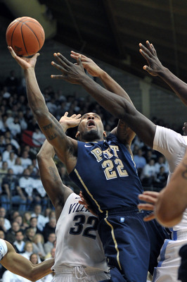 VILLANOVA, PA - FEBRUARY 12: Brad Wanamaker #22 of the Pittsburgh Panthers puts up a shot during the game against the Villanova Wildcats at The Pavilion on February 12, 2011 in Villanova, Pennsylvania.  (Photo by Drew Hallowell/Getty Images)