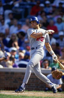 Mike Piazza broke in with the Los Angeles Dodgers in 1991.