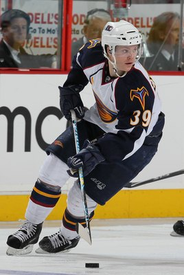 PHILADELPHIA - JANUARY 28:  Tobias Enstrom #39 of the Atlanta Thrashers in action against  The Philadelphia Flyers during their game on January 28, 2010 at The Wachovia Center in Philadelphia, Pennsylvania.  (Photo by Al Bello/Getty Images)