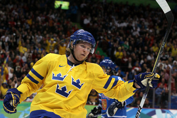 VANCOUVER, BC - FEBRUARY 21:  Nicklas Backstrom of Sweden celebrates after he scored a goal in the second period against Finland during the ice hockey men's preliminary game between Sweden and Finland on day 10 of the Vancouver 2010 Winter Olympics at Can