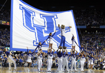 LEXINGTON, KY - MARCH 01:  The Kentucky Wildcats cheerleaders perform during the SEC game against the Vanderbilt Commodores at Rupp Arena on March 1, 2011 in Lexington, Kentucky.  (Photo by Andy Lyons/Getty Images)