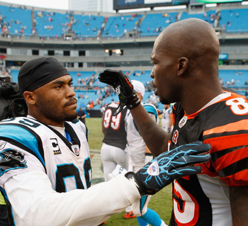 CHARLOTTE, NC - SEPTEMBER 26:  Chad Ochocinco #85 of the Cincinnati Bengals shakes hands with Steve Smith #85 of the Carolina Panthers after defeating the Panthers 20-7 at Bank of America Stadium on September 26, 2010 in Charlotte, North Carolina.  (Photo