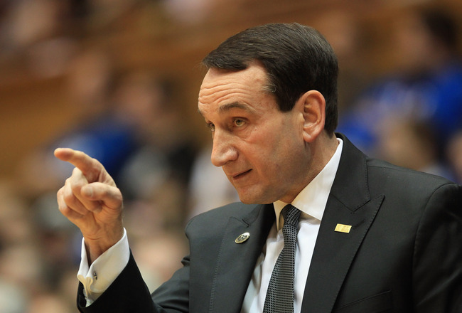 DURHAM, NC - FEBRUARY 23:  Head coach Mike Krzyzewski of the Duke Blue Devils points to his team during their game against the Temple Owls at Cameron Indoor Stadium on February 23, 2011 in Durham, North Carolina.  (Photo by Streeter Lecka/Getty Images)