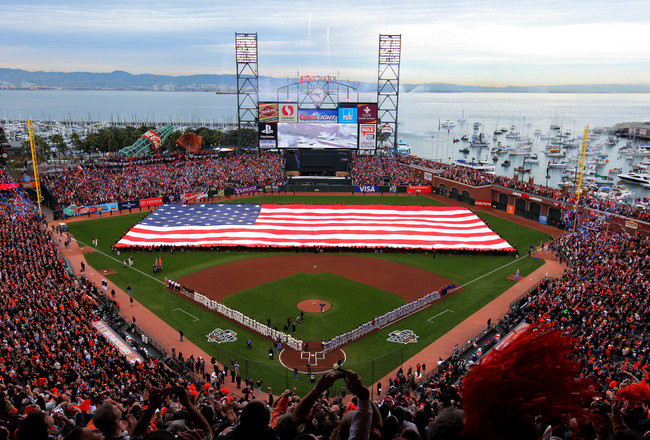 SAN FRANCISCO - OCTOBER 27:  A giant American flag is displayed on the field before Game One of the 2010 MLB World Series against the San Francisco Giants at AT&T Park on October 27, 2010 in San Francisco, California.  (Photo by Doug Pensinger/Getty Image