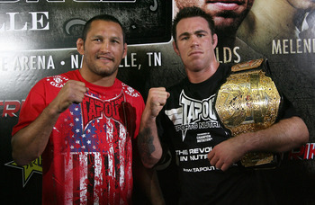HOLLYWOOD - MARCH 17:  Legendary MMA Superstar and two time Olympic Wrestler Dan Henderson (L) and Strikeforce World Middleweight Champion Jake Shields (R)  attend the CBS' Strikeforce MMA Fighters Open Media Workout on March 17, 2010 in Hollywood, Califo