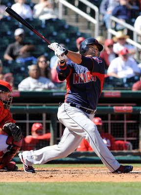 GOODYEAR, AZ - FEBRUARY 28:  Shin-soo Choo #17 of the Cleveland Indians follows through on his swing against the Cincinnati Reds at Goodyear Ballpark on February 28, 2011 in Goodyear, Arizona.  (Photo by Norm Hall/Getty Images)