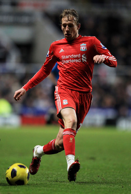 NEWCASTLE UPON TYNE, ENGLAND - DECEMBER 11:  Lucas of Liverpool in action during the Barclays Premier League match between Newcastle United and Liverpool at St James' Park on December 11, 2010 in Newcastle, England.  (Photo by Mark Thompson/Getty Images)