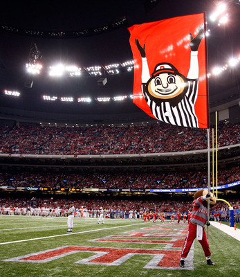 NEW ORLEANS, LA - JANUARY 04:  The Ohio State Buckeyes mascot holds up a flag in the second quarter against the Arkansas Razorbacks during the Allstate Sugar Bowl at the Louisiana Superdome on January 4, 2011 in New Orleans, Louisiana.  (Photo by Kevin C.