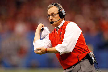 NEW ORLEANS, LA - JANUARY 04:  Head coach Jim Tressel of the Ohio State Buckeyes calls out in the first half against the Arkansas Razorbacks during the Allstate Sugar Bowl at the Louisiana Superdome on January 4, 2011 in New Orleans, Louisiana.  (Photo by