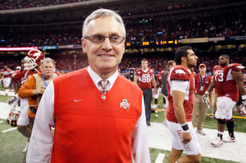 NEW ORLEANS, LA - JANUARY 04:  Head coach Jim Tressel of the Ohio State Buckeyes smiles after the Buckeyes 31-26 victory against the Arkansas Razorbacks during the Allstate Sugar Bowl at the Louisiana Superdome on January 4, 2011 in New Orleans, Louisiana