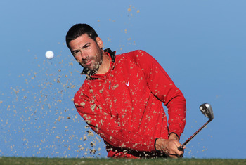 MARANA, AZ - FEBRUARY 22:  Alvaro Quiros of Spain plays a bunker shot during practice prior to the start of the World Golf Championships-Accenture Match Play Championship held at The Ritz-Carlton Golf Club, Dove Mountain on February 22, 2011 in Marana, Ar