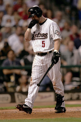 HOUSTON - OCTOBER 18:  Jeff Bagwell #5 of the Houston Astros reacts after striking out in Game 5 of National League Championship Series against the St. Louis Cardinals October 18, 2004 at Minute Maid Park in Houston, Texas.  (Photo By Stephen Dunn/Getty I