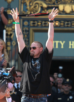 SAN FRANCISCO - NOVEMBER 03:  Aubrey Huff of the San Francisco Giants holds up his red rally thong as he celebrates during the Giants' victory parade and celebration on November 3, 2010 in San Francisco, California. Thousands of Giants fans lined the stre
