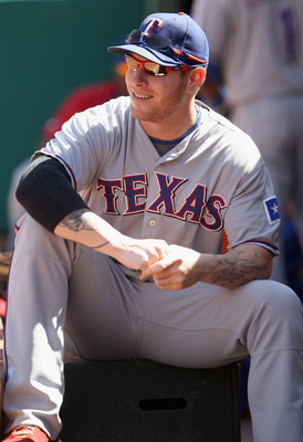 OAKLAND, CA - SEPTEMBER 25:  Josh Hamilton #32 of the Texas Rangers sits in the dugout before their game against the Oakland Athletics at the Oakland-Alameda County Coliseum on September 25, 2010 in Oakland, California.  (Photo by Ezra Shaw/Getty Images)