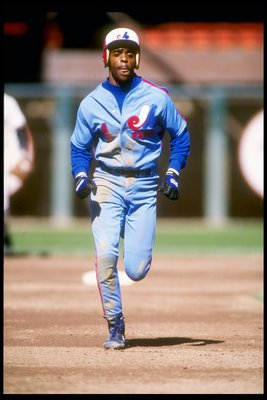 Second baseman Delino DeShields of the Montreal Expos in action against the San Francisco Giants.