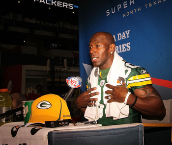 ARLINGTON, TX - FEBRUARY 01:  Donald Driver #80 of the Green Bay Packers speaks during Super Bowl XLV Media Day ahead of Super Bowl XLV at Cowboys Stadium on February 1, 2011 in Arlington, Texas. The Pittsburgh Steelers will play the Green Bay Packers in