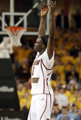 CHESTNUT HILL, MA - FEBRUARY 20:  Reggie Jackson #0 of the Boston College Eagles celebrates in the second half against the North Carolina Tar Heels on February 20, 2010 at Conte Forum in Chestnut Hill, Massachusetts. The Eagles defeated the Tar Heels 71-6