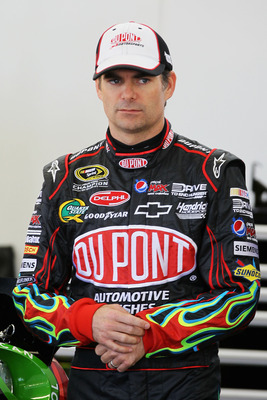 LAS VEGAS, NV - MARCH 05:  Jeff Gordon, driver of the #24 DuPont Chevrolet, stands in the garage during practice for the NASCAR Sprint Cup Series Kobalt Tools 400 at Las Vegas Motor Speedway on March 5, 2011 in Las Vegas, Nevada.  (Photo by Jeff Gross/Get