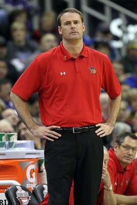 KANSAS CITY, MO - MARCH 11:  Head coach Pat Knight of the Texas Tech Red Raiders reacts while taking on the Kansas Jayhawks during the quarterfinals of the 2010 Phillips 66 Big 12 Men's Basketball Tournament at the Sprint Center on March 11, 2010 in Kansa