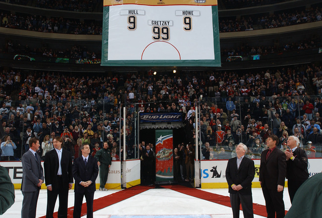 ST. PAUL, MN - FEBRUARY 8:  A banner is raised to honor legendary hockey players who were voted to the All-Time Legendary All-Star team including Bobby Hull #9, Wayne Gretzky #99, and Gordie Howe #9, during the first intermission of the 54th NHL All-Star