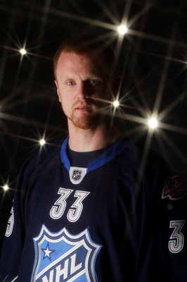 RALEIGH, NC - JANUARY 30:  Henrik Sedin #33 of the Vancouver Canucks poses for a portrait before the 58th NHL All-Star Game at RBC Center on January 30, 2011 in Raleigh, North Carolina.  (Photo by Bruce Bennett/Getty Images)