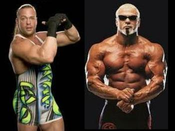 Pictured left to right, RVD and Scott Steiner