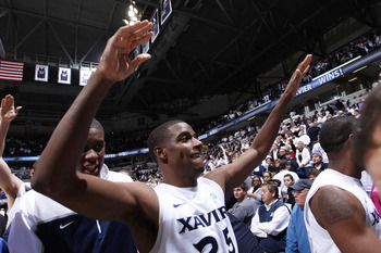 CINCINNATI, OH - DECEMBER 9: Dante Jackson #25 of the Xavier Musketeers celebrates after the game against the Butler Bulldogs at Cintas Center on December 9, 2010 in Cincinnati, Ohio. Xavier defeated Butler 51-49. (Photo by Joe Robbins/Getty Images)