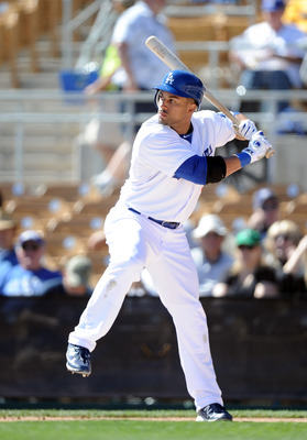 PHOENIX, AZ - FEBRUARY 28:  Xavier Paul #3 of the Los Angeles Dodgers at bat during spring training at Camelback Ranch on February 28, 2011 in Phoenix, Arizona.  (Photo by Harry How/Getty Images)