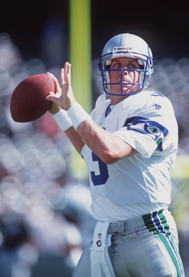 8 Aug 1996:  Quarterback Rick Mirer of the Seattle Seahawks sets to throw a pass during the Seahawks 24-19 win over the Oakland Raiders at the Oakland Coliseum in Oakland, California. Mandatory Credit: Otto Greule/ALLSPORT