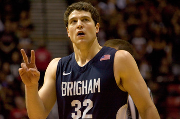 SAN DIEGO, CA - FEBRUARY 26:  Jimmer Fredette #32 of the Brigham Young Cougars reacts to being fouled against the San Diego State Aztecs during the second half at Cox Arena on February 26, 2011 in San Diego, California. BYU beat SDSU 80-67. (Photo by Kent