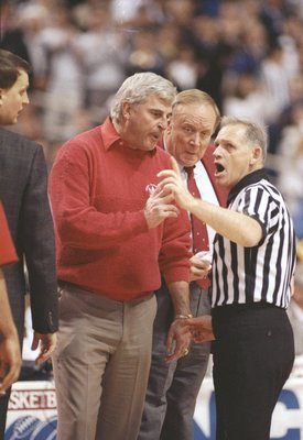 4 Apr 1992:  Coach Bobby Knight of the Indiana Hoosiers argues with an official during a playoff game against the Duke Blue Devils at the Hubert H. Humphrey Metrodome in Minneapolis, Minnesota.  Duke won the game 81-78. Mandatory Credit: Jonathan Daniel