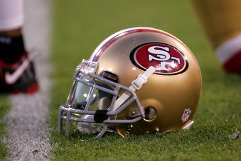 SAN FRANCISCO - DECEMBER 14:  A San Francisco 49ers helmet sits on the field prior to their game against the Arizona Cardinals at Candlestick Park on December 14, 2009 in San Francisco, California.  (Photo by Ezra Shaw/Getty Images)