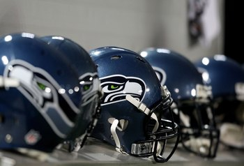MINNEAPOLIS - NOVEMBER 22:  Seattle Seahawks helmets sit on the bench against the Minnesota Vikings at Hubert H. Humphrey Metrodome on November 22, 2009 in Minneapolis, Minnesota.  (Photo by Nick Laham/Getty Images)