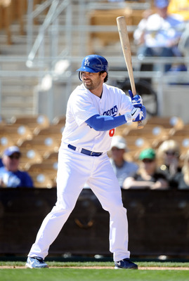 PHOENIX, AZ - FEBRUARY 28:  Aaron Miles #6 of the Los Angeles Dodgers at bat during spring training at Camelback Ranch on February 28, 2011 in Phoenix, Arizona.  (Photo by Harry How/Getty Images)