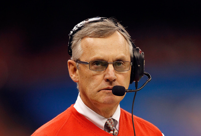 NEW ORLEANS, LA - JANUARY 04:  Head coach Jim Tressel of the Ohio State Buckeyes looks on against the Arkansas Razorbacks during the Allstate Sugar Bowl at the Louisiana Superdome on January 4, 2011 in New Orleans, Louisiana.  (Photo by Matthew Stockman/G