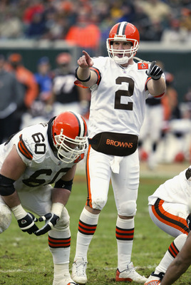 CINCINNATI - NOVEMBER 17:  Quarterback Tim Couch #2 of the Cleveland Browns calls the play at the line of scrimmage during the NFL game against the Cincinnati Bengals at Paul Brown Stadium on November 17, 2002 in Cincinnati, Ohio. The Browns defeated the
