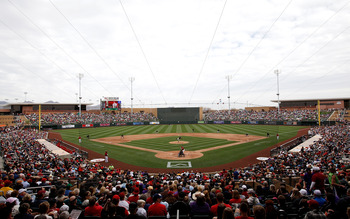 SCOTTSDALE, AZ - FEBRUARY 26:  Fans gather to watch the inaugural game at the new Salt River Fields between the Colorado Rockies and the Arizona Diamondbacks at Salt River Fields on February 26, 2011 in Scottsdale, Arizona..  (Photo by Jonathan Ferrey/Get