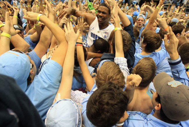 CHAPEL HILL, NC - MARCH 05:  Dexter Strickland #1 of the North Carolina Tar Heels celebrates winning the ACC Regular Season Championship as they defeated the Duke Blue Devils 81-67 at the Dean E. Smith Center on March 5, 2011 in Chapel Hill, North Carolin