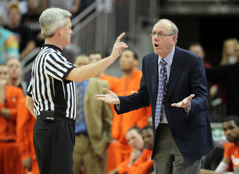 LOUISVILLE, KY - FEBRUARY 12:  Jim Boeheim the Head Coach of the Syracuse Orange argues with game offical Brian O'Connell during the Big East Conference game against the Louisville Cardinals at the KFC Yum! Center on February 12, 2011 in Louisville, Kentu