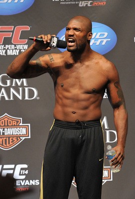 LAS VEGAS - MAY 28:  UFC fighter Quinton 'Rampage' Jackson speaks to the crowd about his fight against UFC fighter Rashad Evans at UFC 114: Rampage versus Rashad at the Mandalay Bay Hotel on May 28, 2010 in Las Vegas, Nevada.  (Photo by Jon Kopaloff/Getty