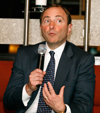 OTTAWA, ON - JUNE 20:  NHL commissioner, Gary Bettman speaks during the 2008 NHL Panel Discussion/Commissioners Lunch at Scotiabank Place on June 20, 2008 in Ottawa, Ontario, Canada.  (Photo by Richard Wolowicz/Getty Images)