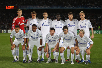 LYON, FRANCE - SEPTEMBER 14:  Schalke team group during the UEFA Champions League Group B match between Olympique Lyonnais and FC Schalke 04 at the Stade de Gerland on September 14, 2010 in Lyon, France.  (Photo by Michael Steele/Getty Images)