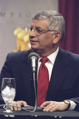 13 Jan 1999: NBA Commissioner David Stern speaking about Michael Jordan during a press conference to anounce Jordans retirement at the United Center in Chicago, Illinois.