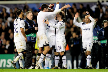 LONDON, ENGLAND - MARCH 09:  Tottenham players celebrate after the UEFA Champions League round of 16 second leg match between Tottenham Hotspur and AC Milan at White Hart Lane on March 9, 2011 in London, England.  (Photo by Jamie McDonald/Getty Images)