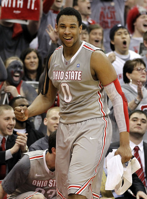 COLUMBUS, OH - MARCH 06:  Jared Sullinger #0 of the Ohio State Buckeyes reacts from the bench while playing the Wisconsin Badgers on March 6, 2011 at the Value City Arena in Columbus, Ohio. Ohio State won the game 93-65.  (Photo by Gregory Shamus/Getty Im